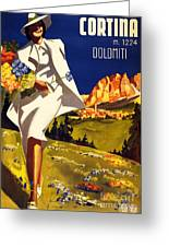 Cortina Dolomiti Italy Vintage Poster Restored Greeting Card