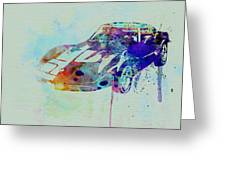 Corvette Watercolor Greeting Card by Naxart Studio