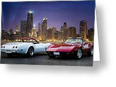 Corvettes In Chicago Greeting Card