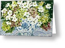Cosmos And Hydrangeas In A Chinese Vase Greeting Card