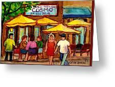 Cosmos  Fameux Restaurant On Sherbrooke Greeting Card by Carole Spandau