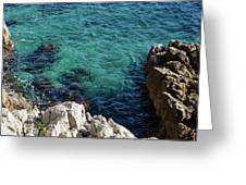 Cote D Azur - Stark White And Silky Azure Blue Greeting Card