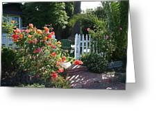 Cottage And Roses Greeting Card