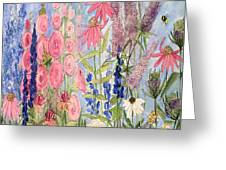 Cottage Flowers With Dragonfly Greeting Card