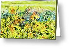 Cottage Gate Seen Through Sun Daisies Greeting Card