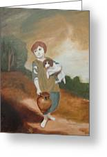 Cottage Girl With Dog And Pitcher Greeting Card