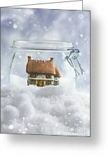 Cottage In Snow Greeting Card