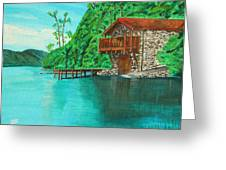 Cottage On Lake  Greeting Card