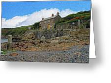 Cottage On Rocks At Port Quin - P4a16009 Greeting Card