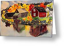 Cottages By A Lake In Autumn  Greeting Card