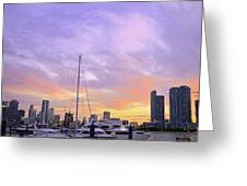 Cotton Candy Sunset Over Miami Greeting Card