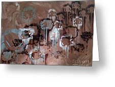 Cotton Impression In Brown And Teal Greeting Card