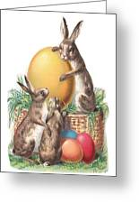 Cottontails And Eggs Greeting Card