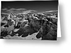 Cottonwood Creek Strange Rocks 2 Bw Greeting Card