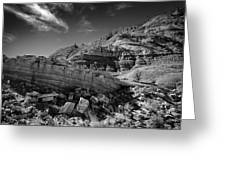 Cottonwood Creek Strange Rocks 3 Bw Greeting Card