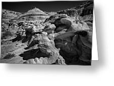 Cottonwood Creek Strange Rocks 6 Bw Greeting Card