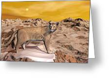 Cougar In The Mountain - 3d Render Greeting Card
