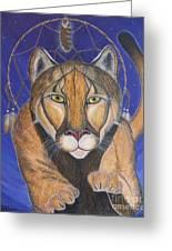Cougar Medicine With Cobalt Blue Background Greeting Card