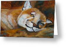 Cougar Wildlife Painting Greeting Card