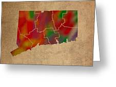 Counties Of Connecticut Colorful Vibrant Watercolor State Map On Old Canvas Greeting Card