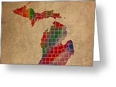 Counties Of Michigan Colorful Vibrant Watercolor State Map On Old Canvas Greeting Card