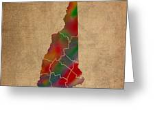 Counties Of New Hampshire Colorful Vibrant Watercolor State Map On Old Canvas Greeting Card