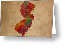 Counties Of New Jersey Colorful Vibrant Watercolor State Map On Old Canvas Greeting Card