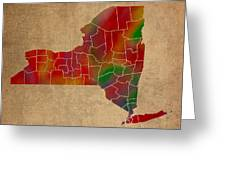Counties Of New York Colorful Vibrant Watercolor State Map On Old Canvas Greeting Card