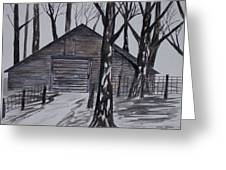 Country Barn Pen And Ink Drawing Print Greeting Card