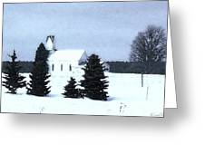 Country Church In Winter Greeting Card