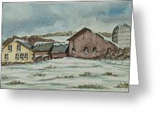 Country Farm In Winter Greeting Card