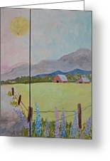 Country Landscape On Barnwood Greeting Card