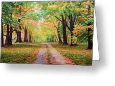 Country Lane - A Walk In Autumn Greeting Card