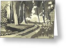 Country Lane In Evening Shadow Greeting Card