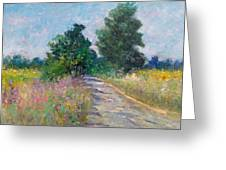 Country Path With Sunflowers Greeting Card