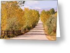 Country Road Autumn Fall Foliage View Of The Twin Peaks Greeting Card