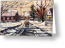 Purchase Best Original Quebec Winter Scene Paintings Achetez  Paysage De Quebec Cspandau Art Greeting Card