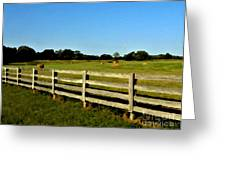 Country Scene With Field And Hay Bales Greeting Card