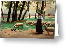 Country Shepherdess  Greeting Card