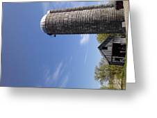 View Of An Old Barn And Silo Greeting Card