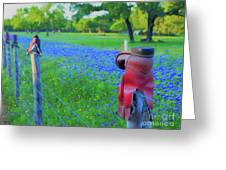 Country Western Blue Bonnets Greeting Card