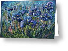 Countryside Irises Oil Painting With Palette Knife Greeting Card