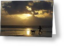 County Meath, Ireland Girl Walking Dog Greeting Card
