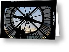 Couple And Clock D'orsay Museum Paris Greeting Card