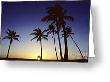 Couple And Sunset Palms Greeting Card