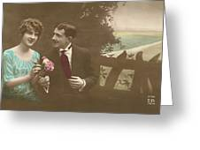 Couple At Beach Colorized Greeting Card