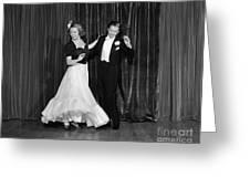 Couple Ballroom Dancing On Stage Greeting Card