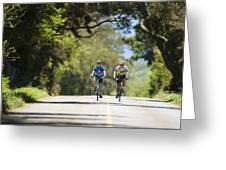 Couple Enjoying A Back Road Bike Ride Greeting Card