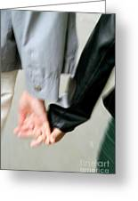 Couple Holding Hands While Strolling Down The Street Greeting Card