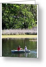 Couple In Row Boat Greeting Card